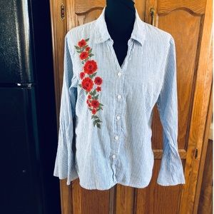 Relativity Striped Floral Embroidery Top Size XL